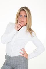 pensive posing head shot of a mature female business leader executive professional