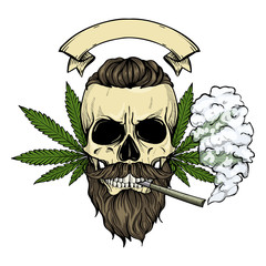 Hand drawn sketch, color skull with beard and mustaches, cigarette, smoke and hemp leaf