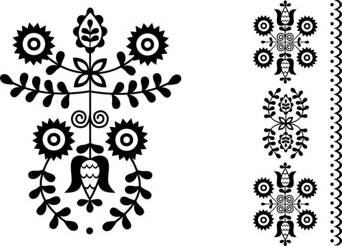 Vector image of folk embroidery from Povazska Bystrica area (Slovakia)