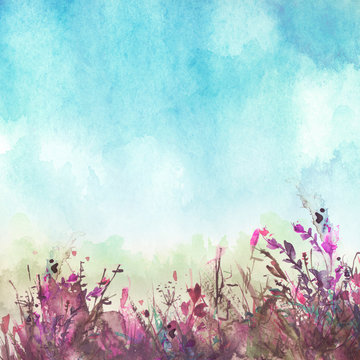 watercolor illustration. Vintage wild grass, flowers, plants. pink, red ink, paint. Stylish fashionable card, background, pattern. Landscape - blooming field, meadow.