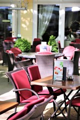 tables and chairs in a restaurant