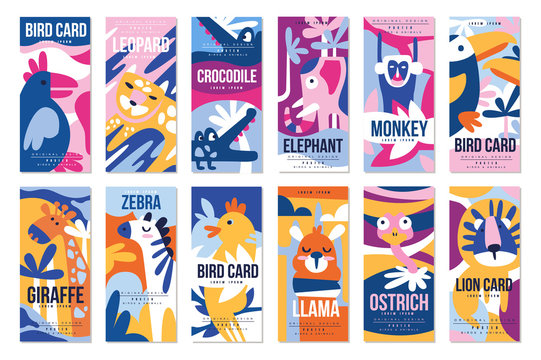 Birds and animals poster set, design element with peacock, flamingo, bull, giraffe, zebra, leopard, crocodile can be used for banner, greeting card, birthday party, invitation vector Illustration