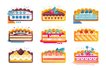 Piece of layered delicious cake set, cakes with various ingredients with fruits and berries on top vector Illustration on a white background