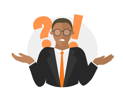 Businessman doubts. Black man with a question mark. illustration isolated on white