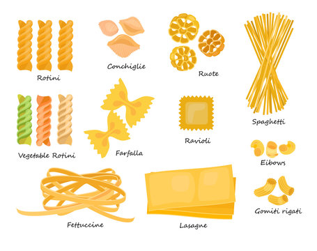 Macaroni types set. Collection of pasta shapes. Can be used for topics like food, Italian cuisine, cooking