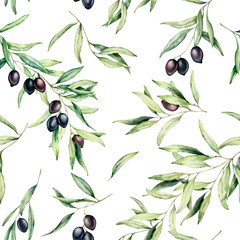 Watercolor seamless pattern with olive tree branch, black olives, and leaves. Hand painted botanical illustration isolated on white background for design, print, fabric or background.