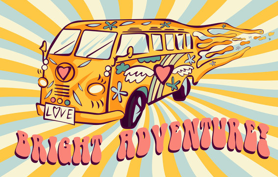 Hippie car, mini van on rays background. Bright adventure poster. Psychedelic concept.