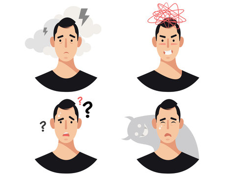 Men head with mental illness, disorders, impairments, psychiatric or psychological problems.