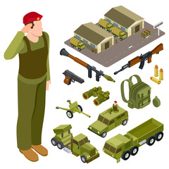 Armor weapon collection and accessorises. Soldier, military base, volley fire system and infantry fighting vehicle isometric vector set. Illustration of weapon military, army vehicle