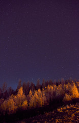 Printed kitchen splashbacks Brown Beautiful landscape. Night sky with stars in the Carpathian mountains.