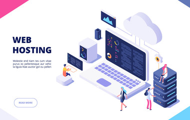 Web hosting concept. Cloud computing online database technology security computer web data center server isometric landing vector page. Server network cloud, database hosting illustration