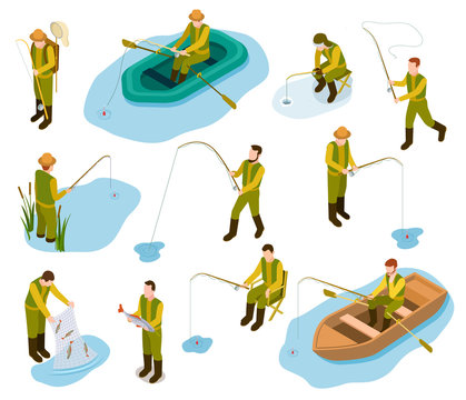 Fisherman isometric. Fishing in river pond sea tackle rubber fish bucket boat fishing rod 3d isometric vector set. Illustration of fishing isometric, fisherman on boat