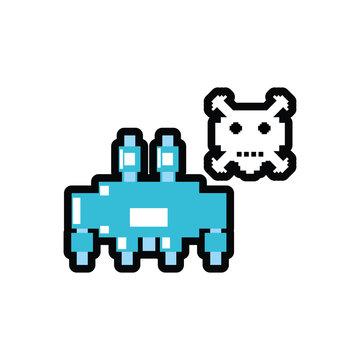 video game monster alien with skull pixelated