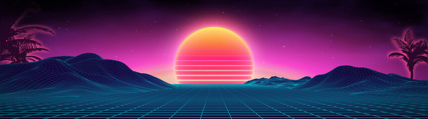 Aluminium Prints Night blue Retro background futuristic landscape 1980s style. Digital retro landscape cyber surface. 80s party background . Retro 80s fashion Sci-Fi Background Summer Landscape.
