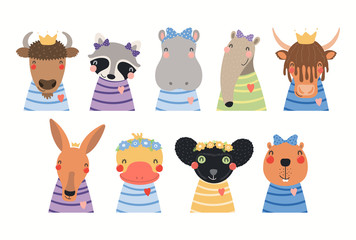 Printed kitchen splashbacks Illustrations Big set of cute animals in t-shirts, crowns, ribbons, flower wrethes. Isolated objects on white background. Hand drawn vector illustration. Scandinavian style flat design. Concept for children print.