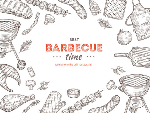 Vintage bbq poster. Barbeque doodle grill chicken barbecue grilled vegetables fried steak meat picnic summer party vector invitation. Illustration of summer barbecue meat, grill chicken and steak