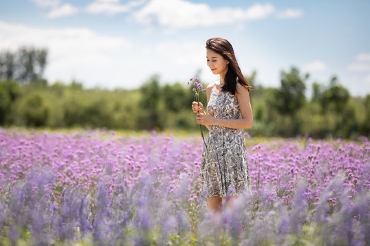 Happy young woman in lavender field