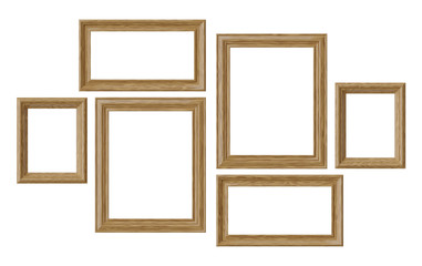 Wooden picture or photo frames isolated on white background
