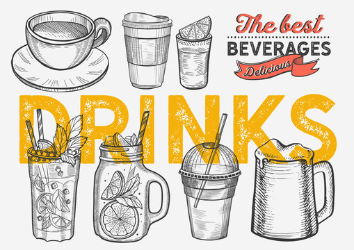 Drink illustration - coffee, mojito, smoothie, beer, cocktail