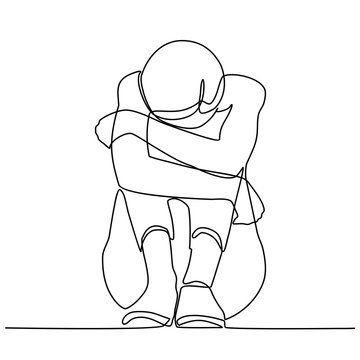 Continuous line drawings of young woman feeling sad, tired and worried about suffering from depression in mental health. problems, failures and concepts of heartbreak