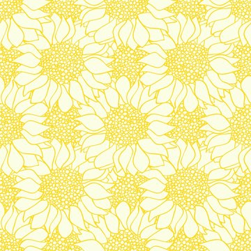 Abstract sunflowers flowers seamless pattern in yellow and white colors.