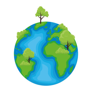 world planet earth with tree plant