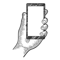 Smart phone in hand sketch engraving vector illustration. Scratch board style imitation. Hand drawn image.