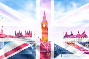 Fototapeta brexit concept - double exposure of UK landmarks and flag obraz
