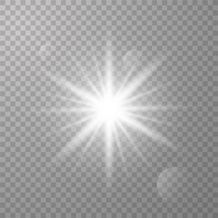 White shining vector sun