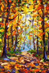 Forest tree painting impressionism Forest landscape park with tall trees and foliage. Modern arwork nature fite art structure brushwork illustration