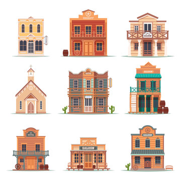 Set of isolated wild west, western building