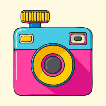 Retro camera hand drawn pop art style illustration.