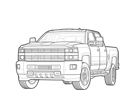 Pickup truck vector draw isolated on white