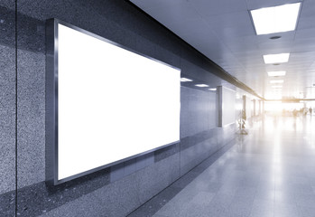 blank billboard clipping path white screen LED horizontal advertising banner board indoor in subway station ad interior public hall.