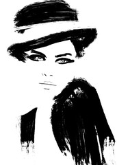 Fashion illustration. abstract painting. girl or woman with hat.  acrylics. black and white. fashion illustration. Asian