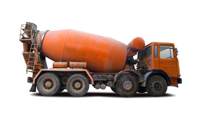 Cement mixer truck side view isolated on white