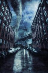 Manhattan Bridge in New york street during the heavy tornado storm, rain and lighting in New York, creative picture.