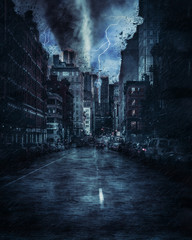 New york street during the heavy tornado storm, rain and lighting in New York, creative picture.