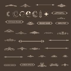 Vintage set decor elements. Decoration for logo