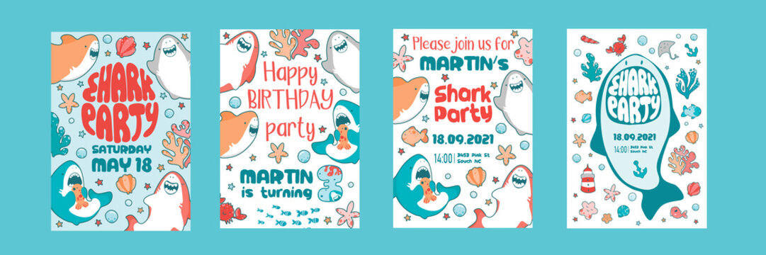 Invitations childrens holiday. Cute shark, sea fish, baby illustration