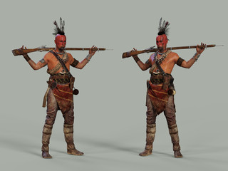 American Indian with a gun. 3d illustration
