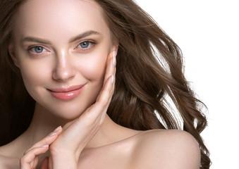 Obraz Beauty skin care woman natural makeup female model closeup  - fototapety do salonu