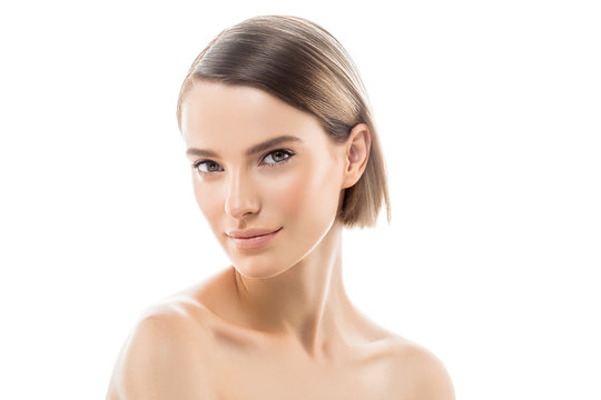 Clean skin woman natural makeup beauty healthyskin isolated on white