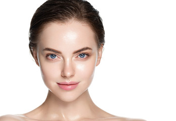 Beauty skin care woman natural makeup female model closeup  Wall mural