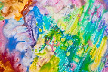 Colorful watercolor creativity background blue, purple, orange texture. Pattern rainbow abstract.