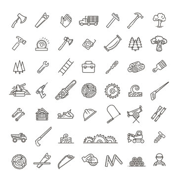 Logging, sawmill line icons. Instruments for working with wood