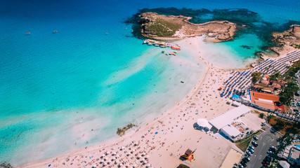 Photo sur Aluminium Chypre Aerial view of beautiful Nissi beach in Ayia Napa