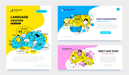 Vector set of template with business illustration with people on color background. Concept of education, engineering, teamwork with text.