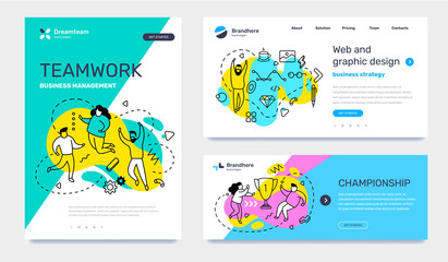 Vector set of template with business illustration with people on color background. Concept of teamwork, graphic design, championship with text