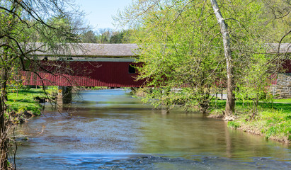 Old wooden covered bridge in Lehigh Parkway